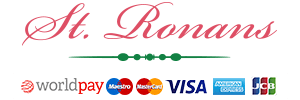 St. Ronan's footer logo with payment cards logo
